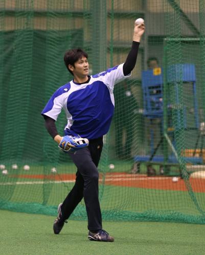 大谷翔平左投げ練習